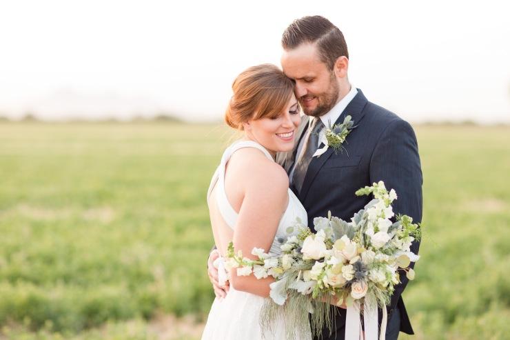 Cream, silver, and blue desert boho ranch bridal bouquet