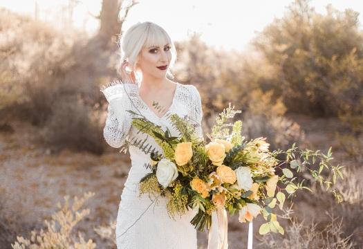 Unique custom desert boho bridal bouquet design
