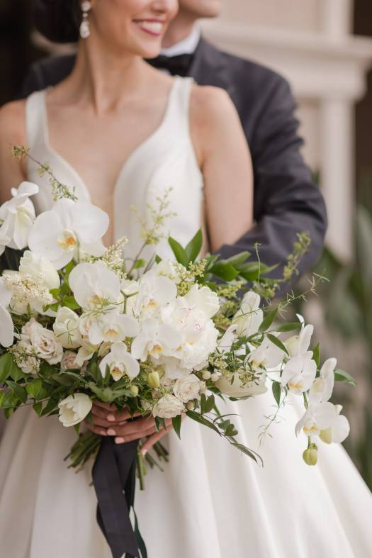 classic white and green bridal bouquet with orchids