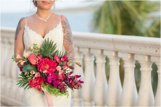 bright bold silk bridal bouquet for tropical wedding