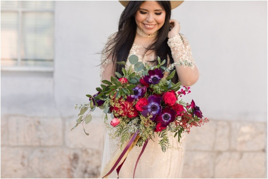 red purple and gold elopement and bridal bouquet AZ Tucson