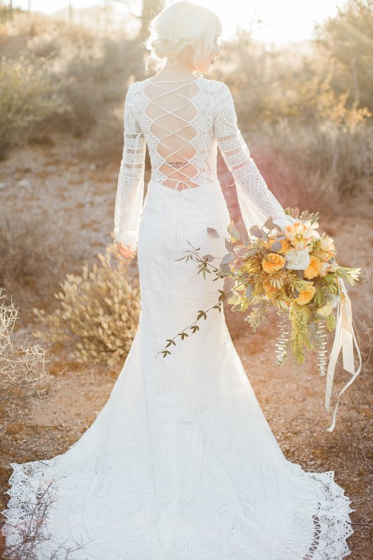 desert boho bride yellow flowers