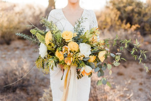 yellow boho bridal bouquet Tucson AZ