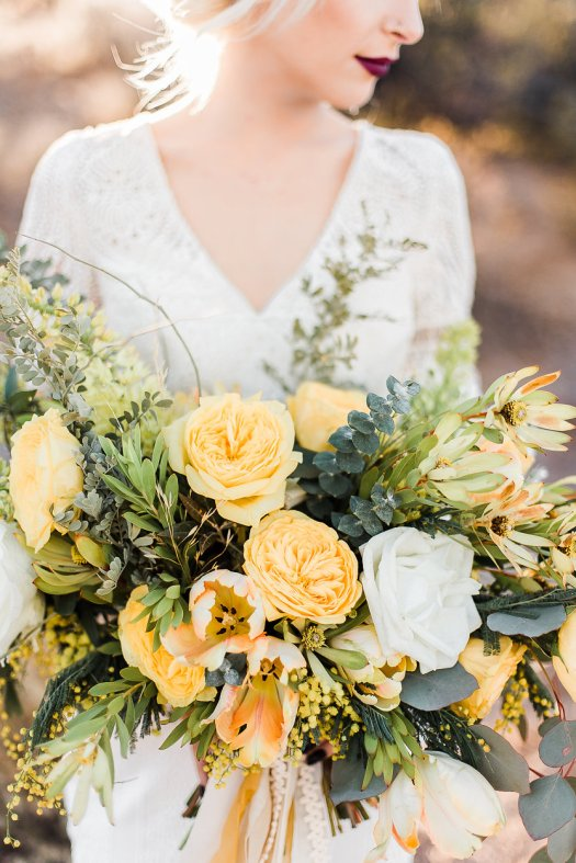 boho organic yellow bridal bouquet