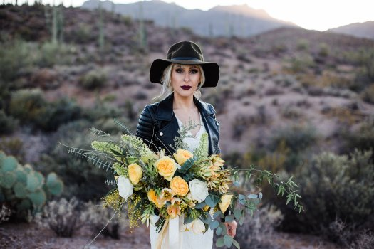 biker bride yellow desert bouquet