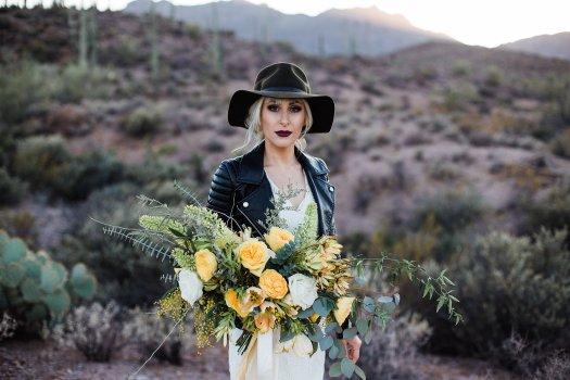 biker bride yellow desert bouquet