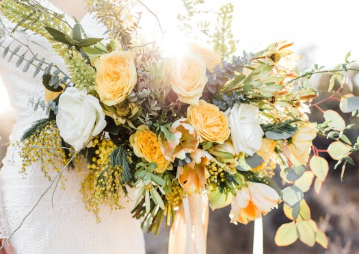 yellow bridal bouquet Tucson desert