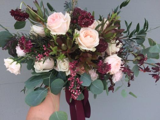 pink and burgundy boho desert elopement bridal bouquet