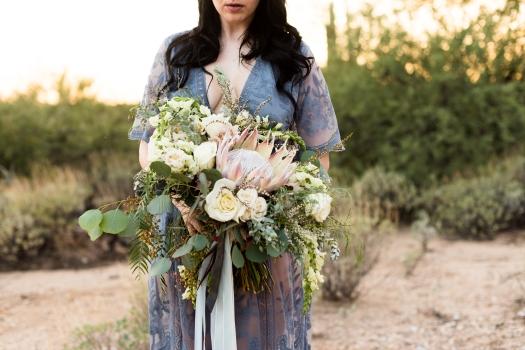 bohemian protea bridal bouquet Tucson desert elopement